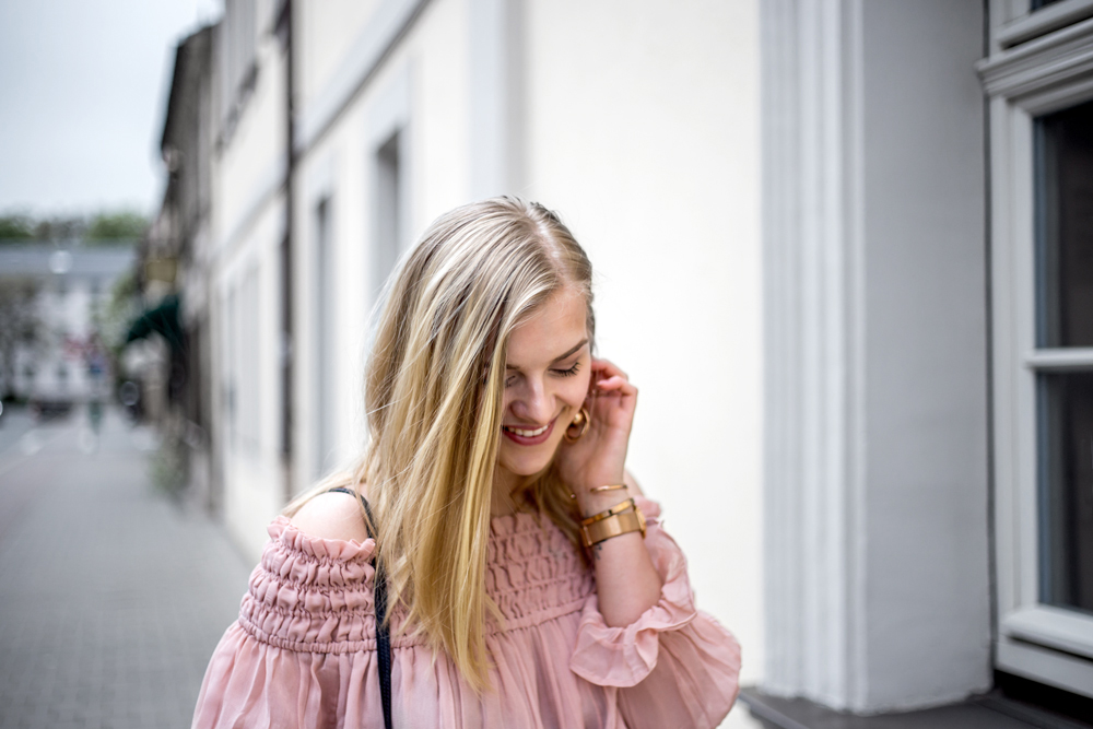 blush pink satin off shoulder street style ootd