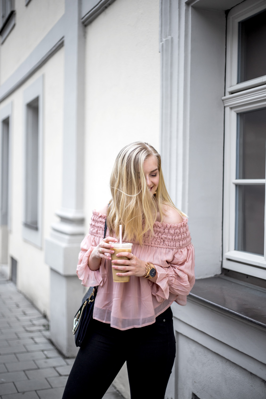 blush pink satin off shoulder street style ootd