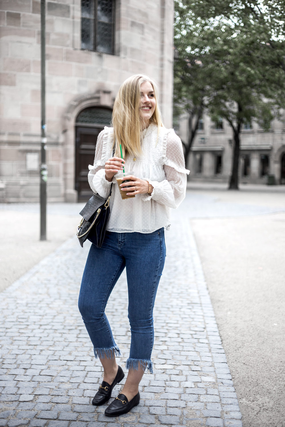 Bluse fransen ootd street style blogger Gucci chloe