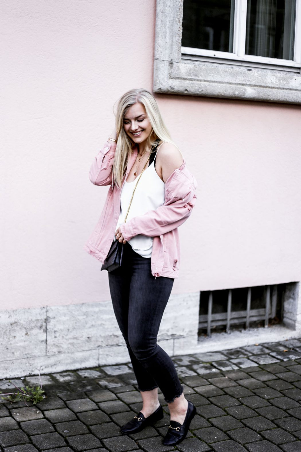 pink denim Gucci street style ysl blogger erlangen