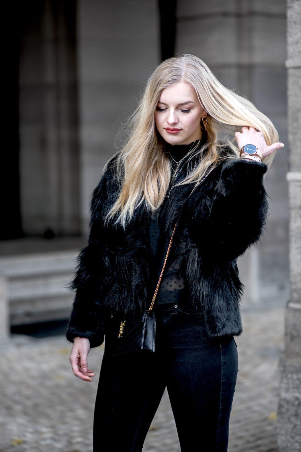 ootd street style nuremberg fashion blogger faux fur gucci saint laurent eva Jasmin