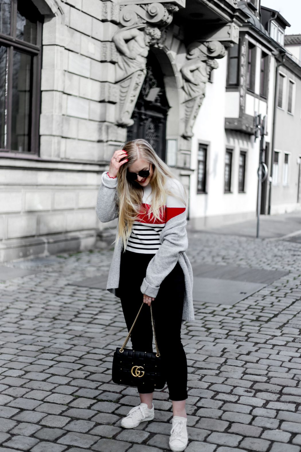 Eva Jasmin Happiness Coffee ootd streetstyle stripes gucci marmont track pants
